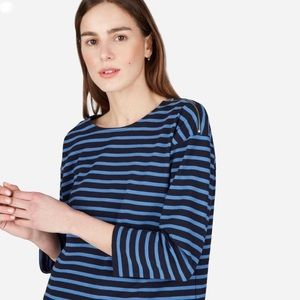 Everlane Breton Black/Navy Striped Top
